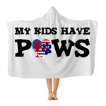 "Apparel Adult - 72"" wide x 55"" tall WineyBitches.Co My Kids Have Paws Adult Hooded Blanket WineyBitchesCo"