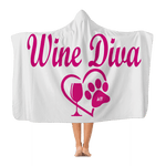 "Apparel Adult - 72"" wide x 55"" tall WineyBitches.co Wine Diva Collection Classic Adult Hooded Blanket WineyBitchesCo"
