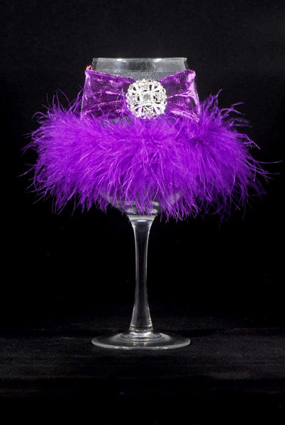 "Barware A-Purple On Purple with Jewel Winey Bitches Co ""Jeweled or Sequined"" Floozie Coozies-Choose Your Style... WineyBitchesCo"
