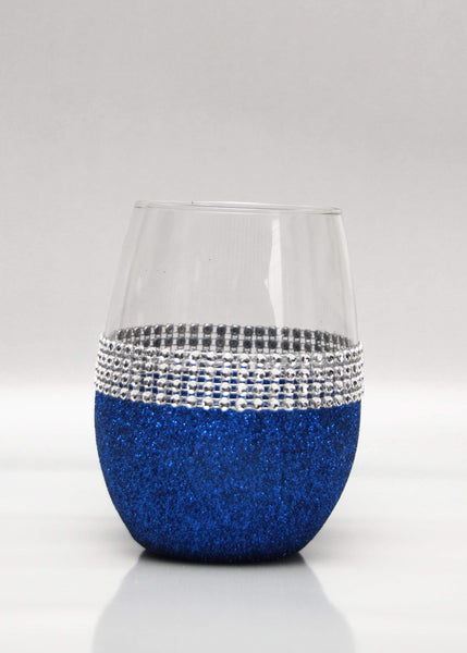 "Drinkware Blue WineyBitches Co Classy Glassy Bling Stemless ""Band"" Style Wine Glasses-Choose your color WineyBitchesCo"