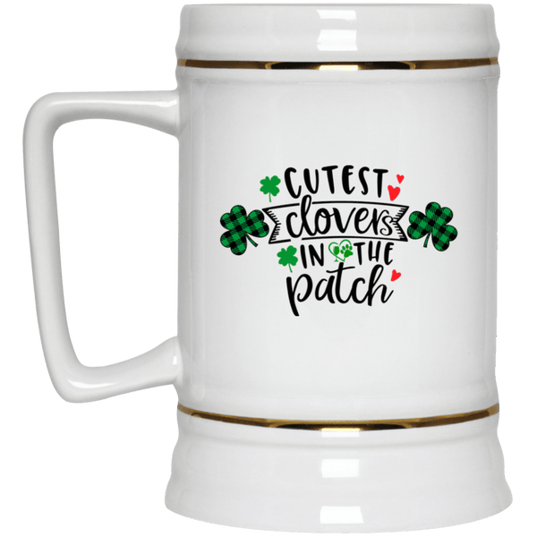 "Drinkware White / One Size Winey Bitches Co ""Cutest Clovers in the Patch"" Beer Stein 22oz. WineyBitchesCo"