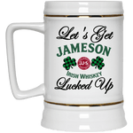 "Drinkware White / One Size Winey Bitches Co ""Let's Get Lucked Up"" Jameson Beer Stein 22oz. WineyBitchesCo"