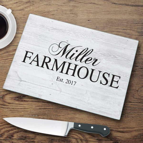 Home Decor Modern Personalized Family Farmhouse Glass Cutting Board WineyBitchesCo