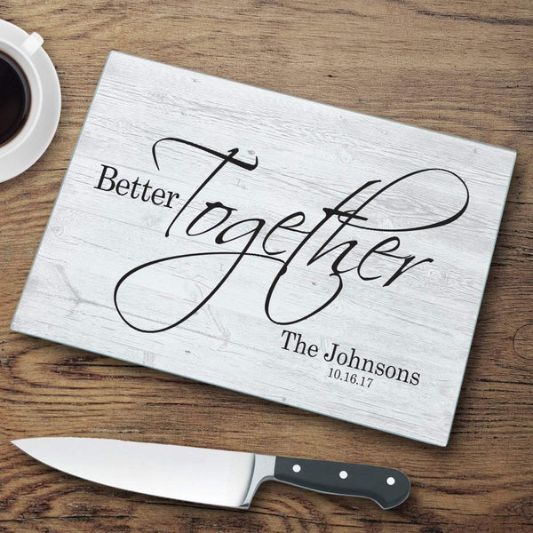 Home Decor Personalized Better Together Glass Cutting Board WineyBitchesCo