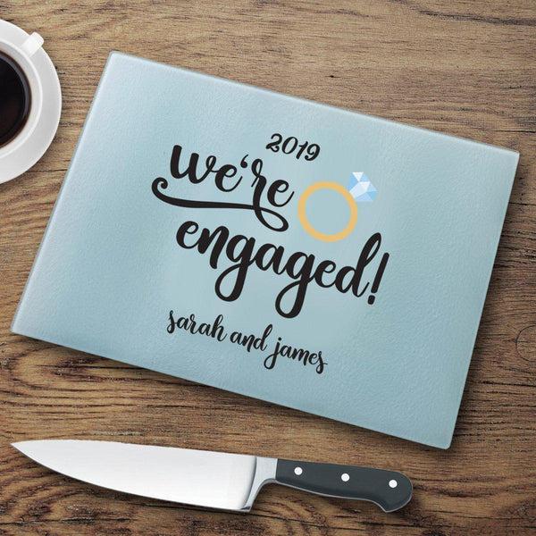 Home Decor We're Engaged Personalized Glass Cutting Board WineyBitchesCo