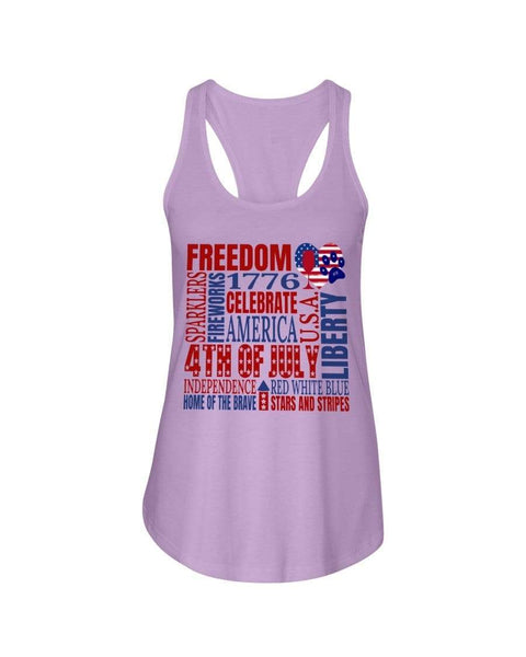 "Shirts Lilac / XS Winey Bitches Co ""Celebrate America"" Ladies Racerback Tank WineyBitchesCo"
