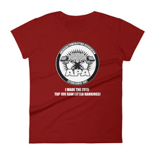 I made The APA 2015 Top Raw Lifters Rating List Women's short sleeve t-shirt