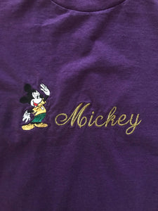 Mickey Script Embroidered Tee (Purple)