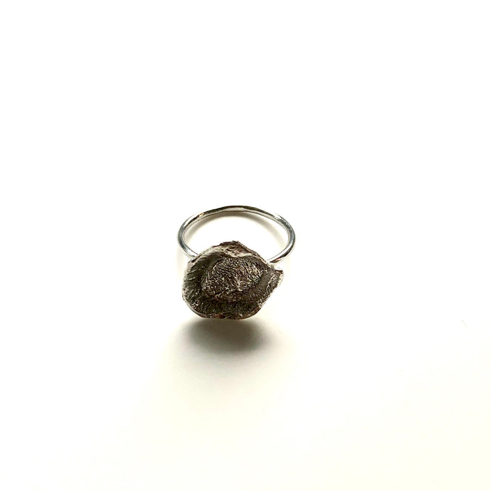 Flame medium silver ring