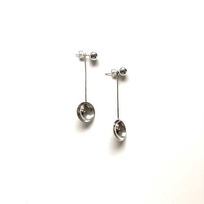 Bowl long silver earrings