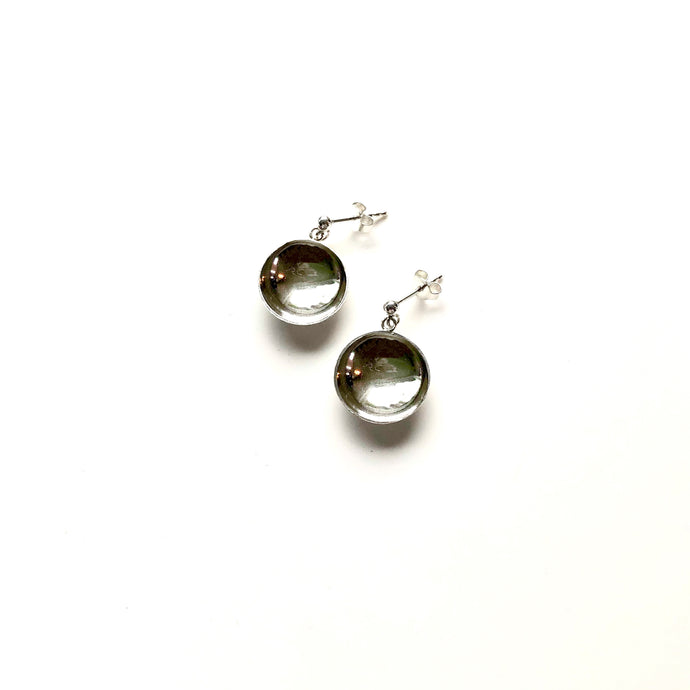 Bowl silver short earrings