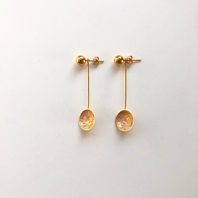 Paint long rose earrings