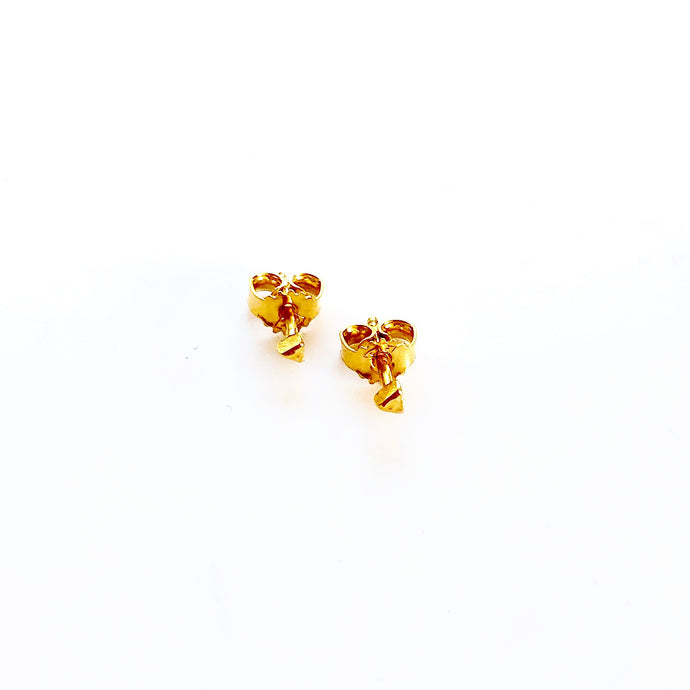 Triangle dot gold earring