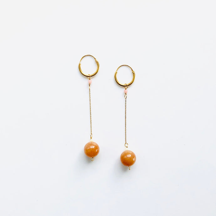 Treasure red stone long earring