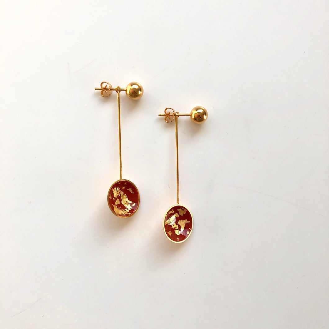Paint long brown earrings