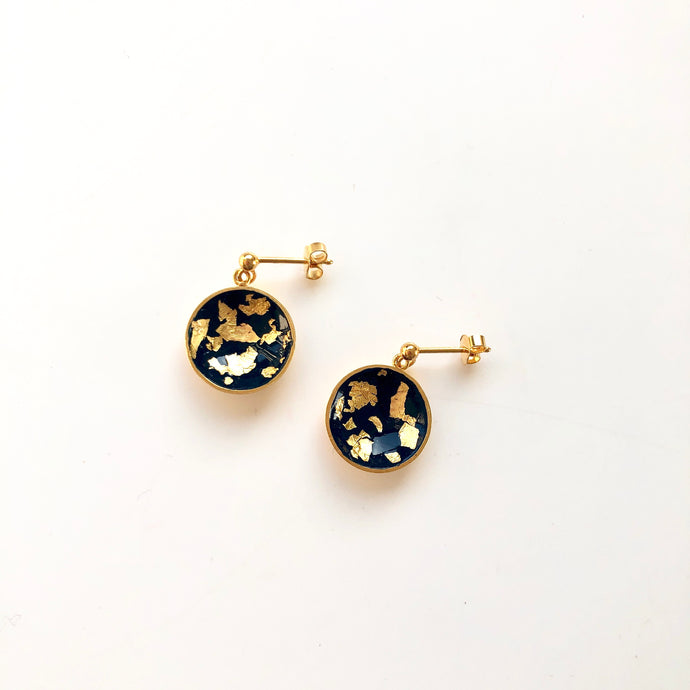 Painty dark blue earrings