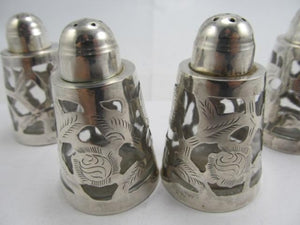 MEXICO STERLING 925 2 PAIR STERLING SALT & PEPPER SHAKERS