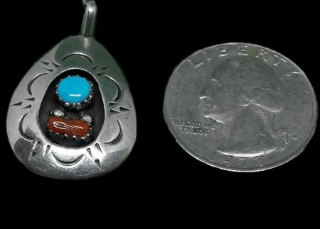 Vintage Native American Navajo Sterling Silver Turquoise Coral Shadow Box Pendant