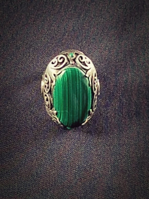 Vintage Sterling Silver Malachite Ring