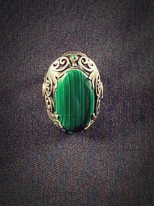 Vintage Chunky Sterling Silver Malachite Incised Crown Set Ring