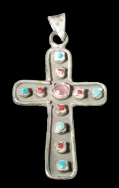 Vintage Taxco Mexico Sterling Silver Turquoise Coral Amethyst Cross