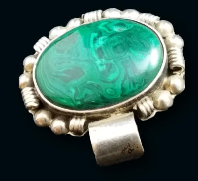 Vintage Mexico Sterling Silver Swirled Malachite Pendant