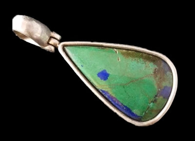 Vintage Sterling Silver Natural Turquoise With Azurite Teardrop Pendant