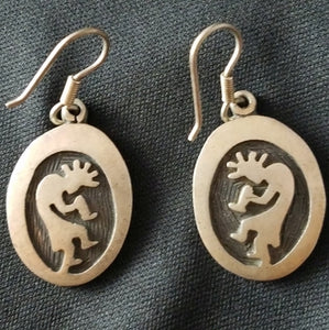 Vintage Sterling Native American Hopi Kokopelli Dangle Earrings
