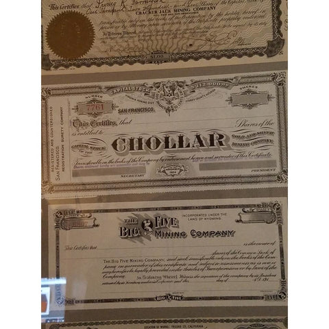 Framed Collage Uncancelled  Mining Stock Certificates