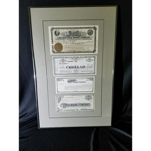 Framed Collage of Uncancelled Gold Mining Stock Certificates