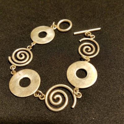 Sterling swirls and circles Bracelet