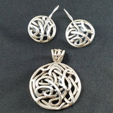 Sterling Interwoven Pendant and Earring Set