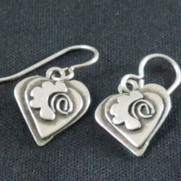 Sterling Deco face earrings