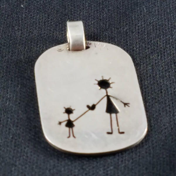 Darling Mom and Child holding hands sterling pendant