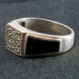 Sterling Onyx and Marcasite ring