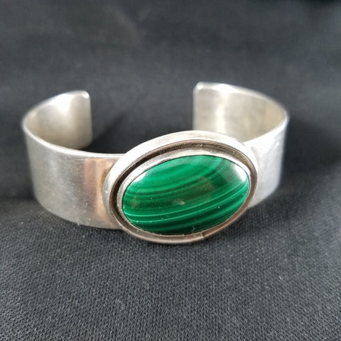 Sterling Malachite Cuff Bracelet