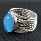 Sterling and Blue Cabochon Multi Strand Ring
