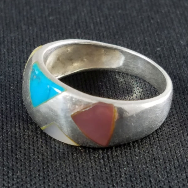 Sterling Turquoise multi color Mother Of Pearl Ring