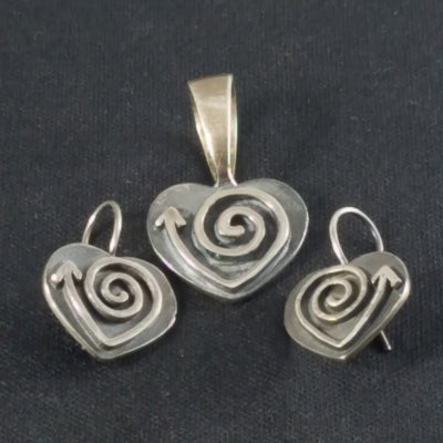 Unique Sterling Pendant and Earring Set