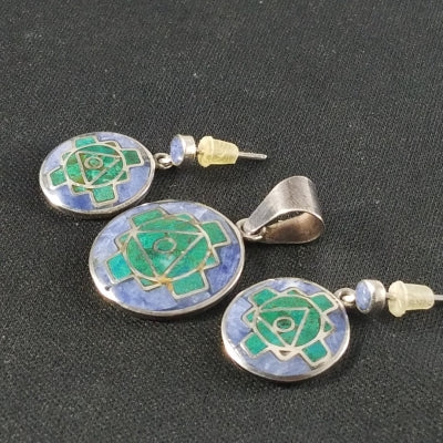 Beautiful Vintage 950 Silver with Malachite and Lapis