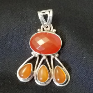 Sterling Faceted Carnelian Agate Pendant