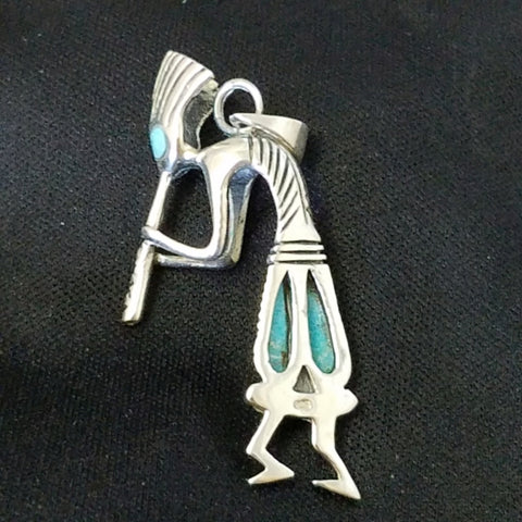 Sterling and Turquoise Kokopelli Pendant
