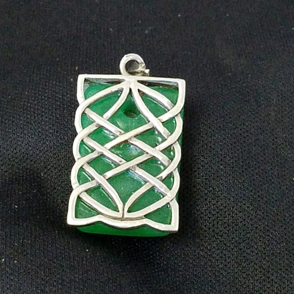 Sterling Wrapped Green Jade Pendant