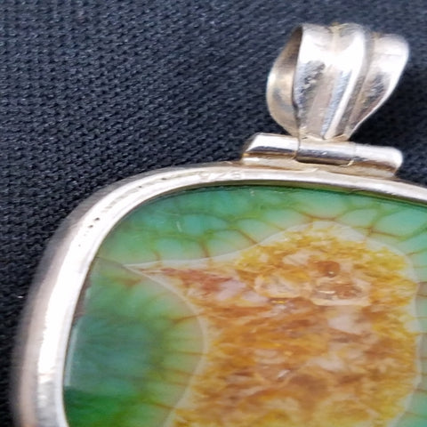 Green Solar Quartz Sterling Pendant