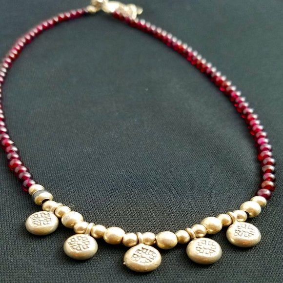 Sterling and Garnet Beaded Necklace/Choker