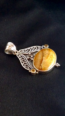 Sterling Agate and Citrine pendant