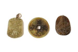 3 Chinese vintage jade carved plaques