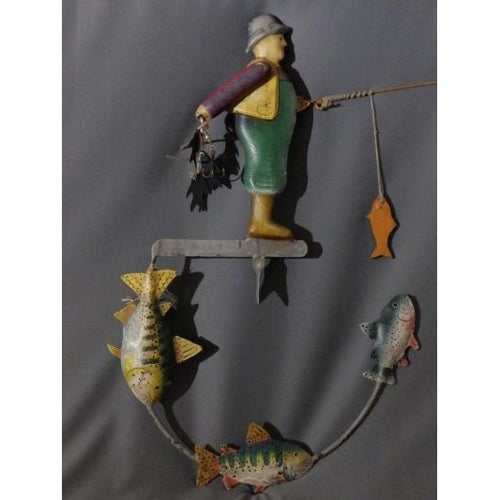 Vintage Folk Art Style Counter Balance Fisherman