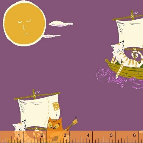 Windham Fabrics Far Far Away 2 Heather Ross Owl and the Pussycat on Purple 51199-6