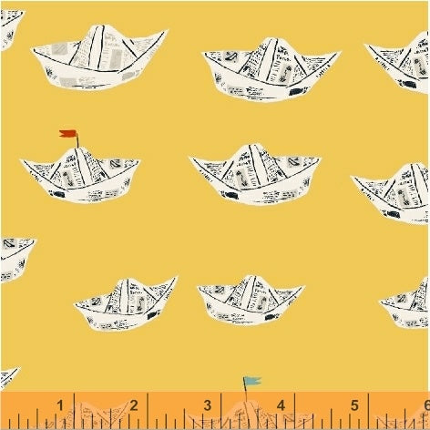Windham Fabrics Far Far Away 2 Heather Ross Paper Boats in Yellow 51202-4